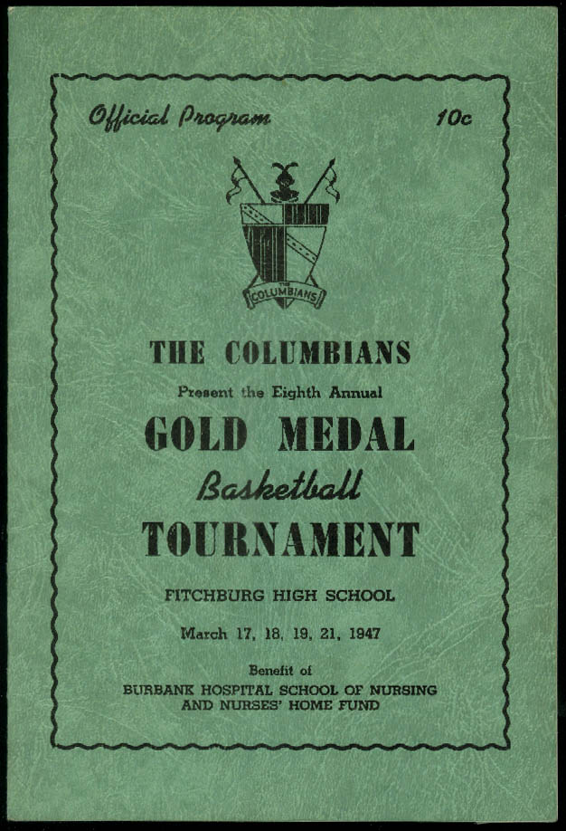Image for The Columbians Gold Medal Basketball Tournament program Fitchburg MA 1947