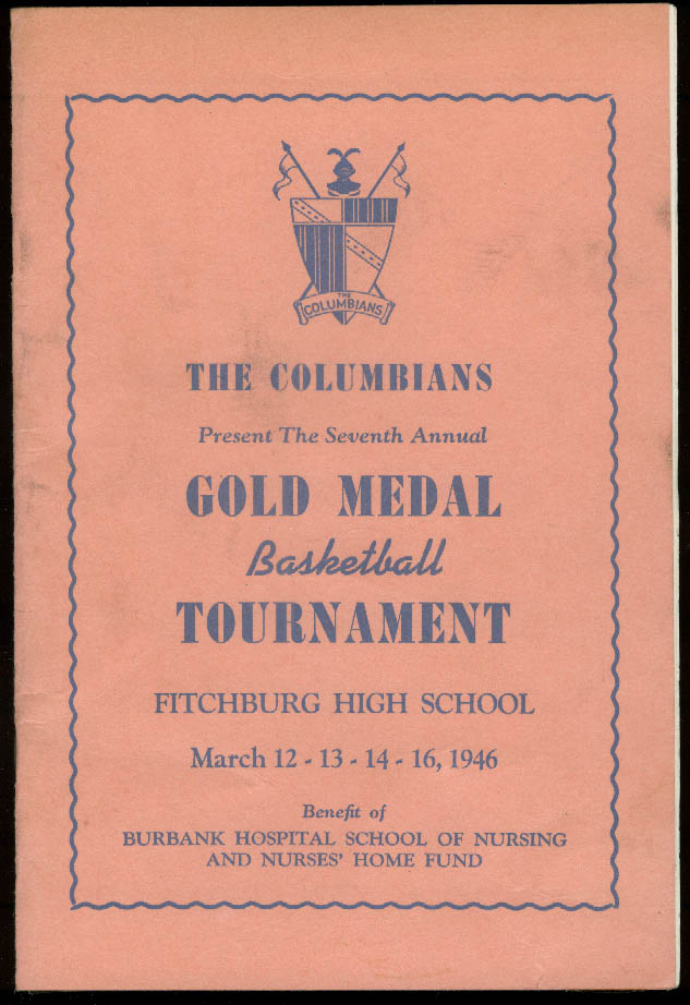 Image for The Columbians Gold Medal Basketball Tournament program Fitchburg MA 1946