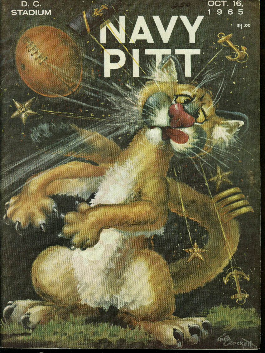 Image for University of Pittsburgh Pitt at Navy College Football Program 1965