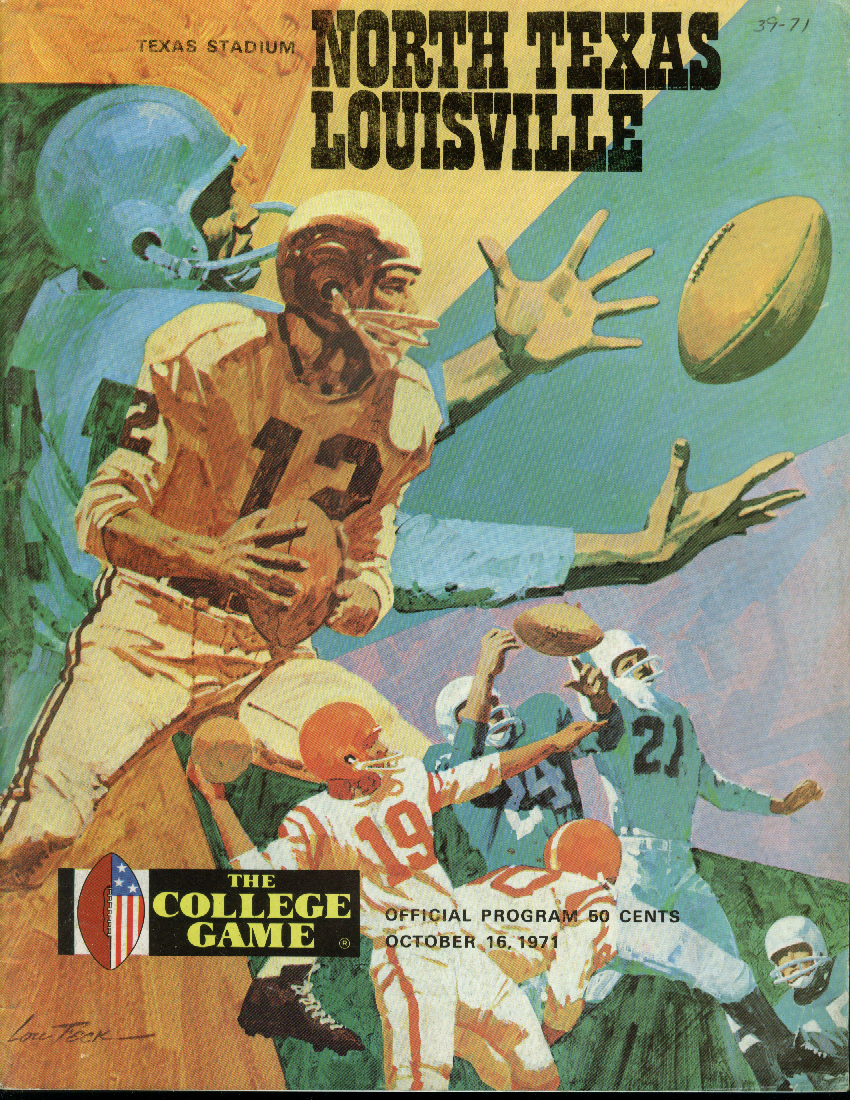 Image for University of Louisville at North Texas College Football Program 1971