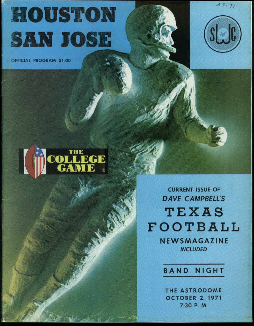 Image for San Jose State University at U of Houston College Football Program 1971