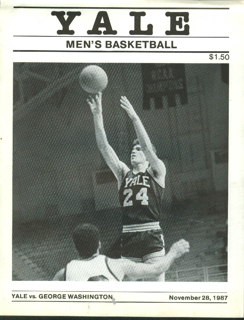 Image for George Washington U at Yale University College Basketball Scorecard 11/28 1987