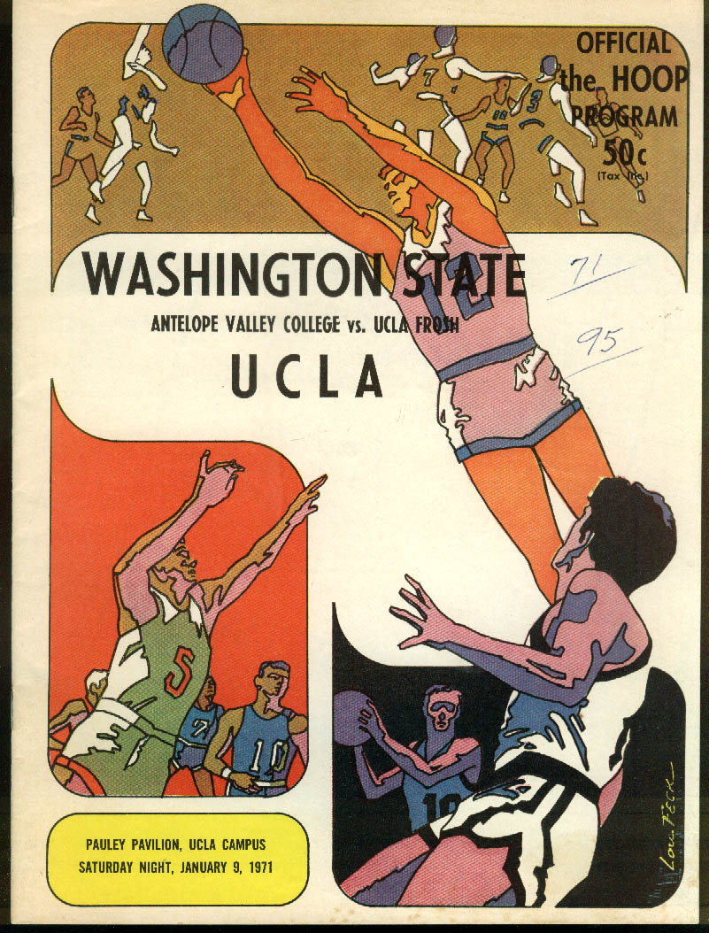 Image for Washington State at UCLA NCAA Basketball Program 1/9 1971
