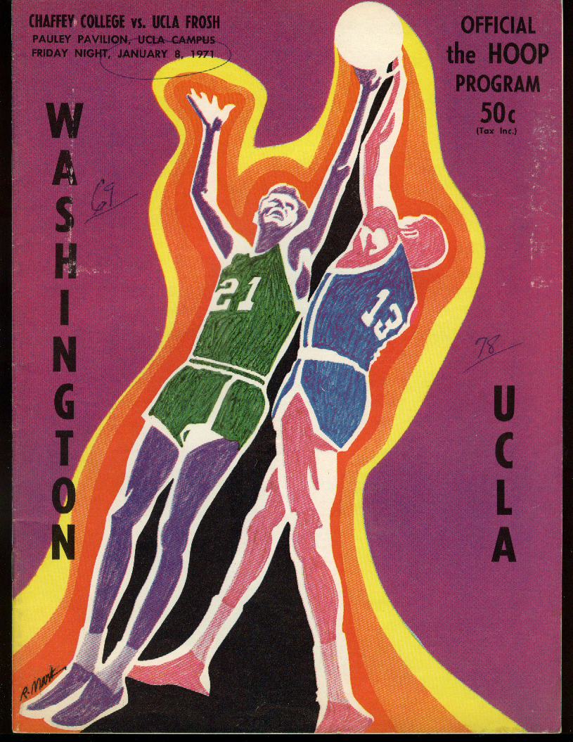 Image for Washington at UCLA Basketball Program 1/8 1971 Walton & UCLA Frosh v Chaffey