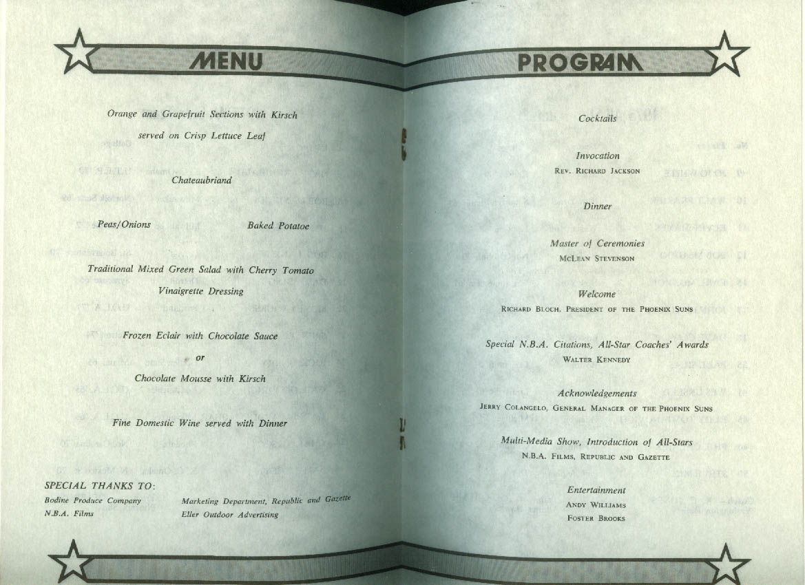 Image for 1975 NBA All-Star Game at Phoenix Pre-Game Banquet Menu