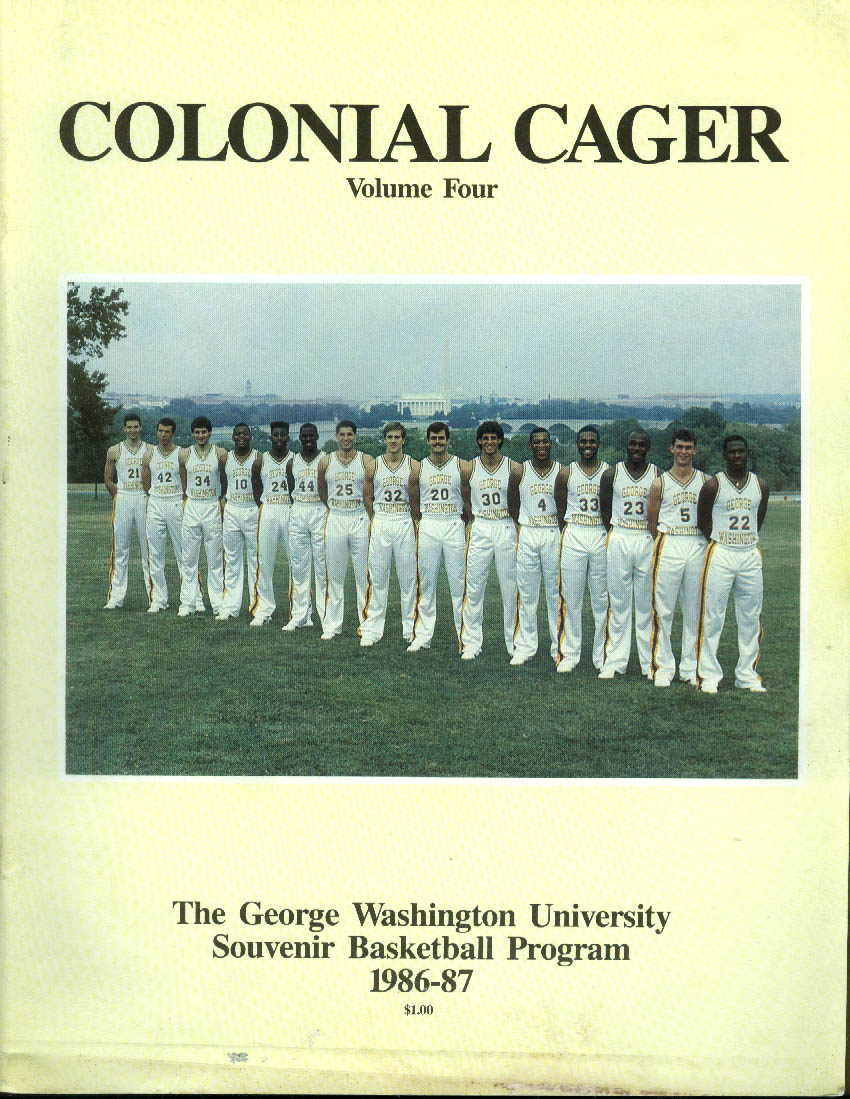 Image for George Washington University COLONIAL CAGER Basketball Program 1986-87