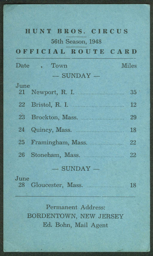 Image for Hunt Bros Circus Route Card 6/21-28 1948 RI & MA stops Newport Quincy Gloucester