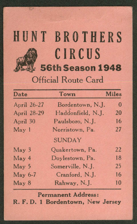 Image for Hunt Bros Circus Route Card 4/26-5/8 1948 New Jersey Pennsylvania stops
