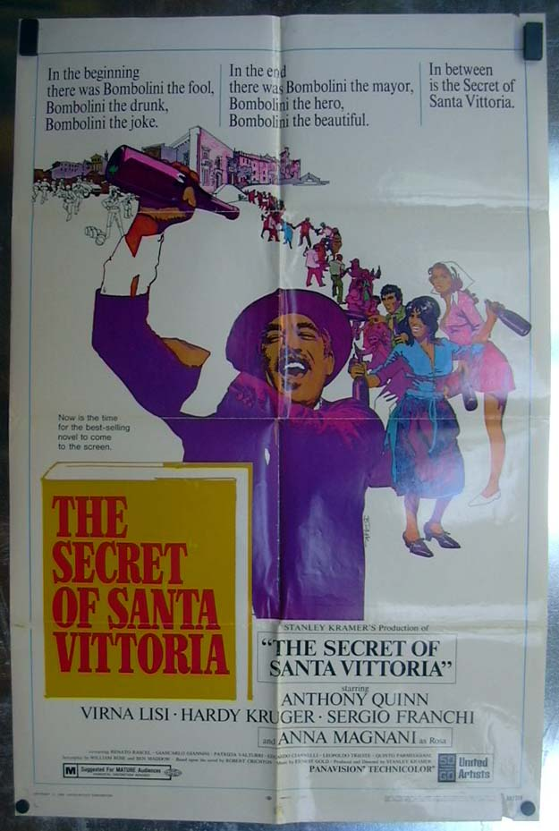 Image for The Secret of Santa Vittoria 1969 one-sheet movie poster Anthony Quinn