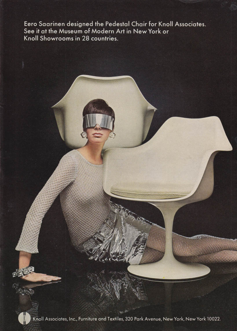 Image for Eero Saarinen designed the Pedestal Chair for Knoll Associates ad 1968 NY