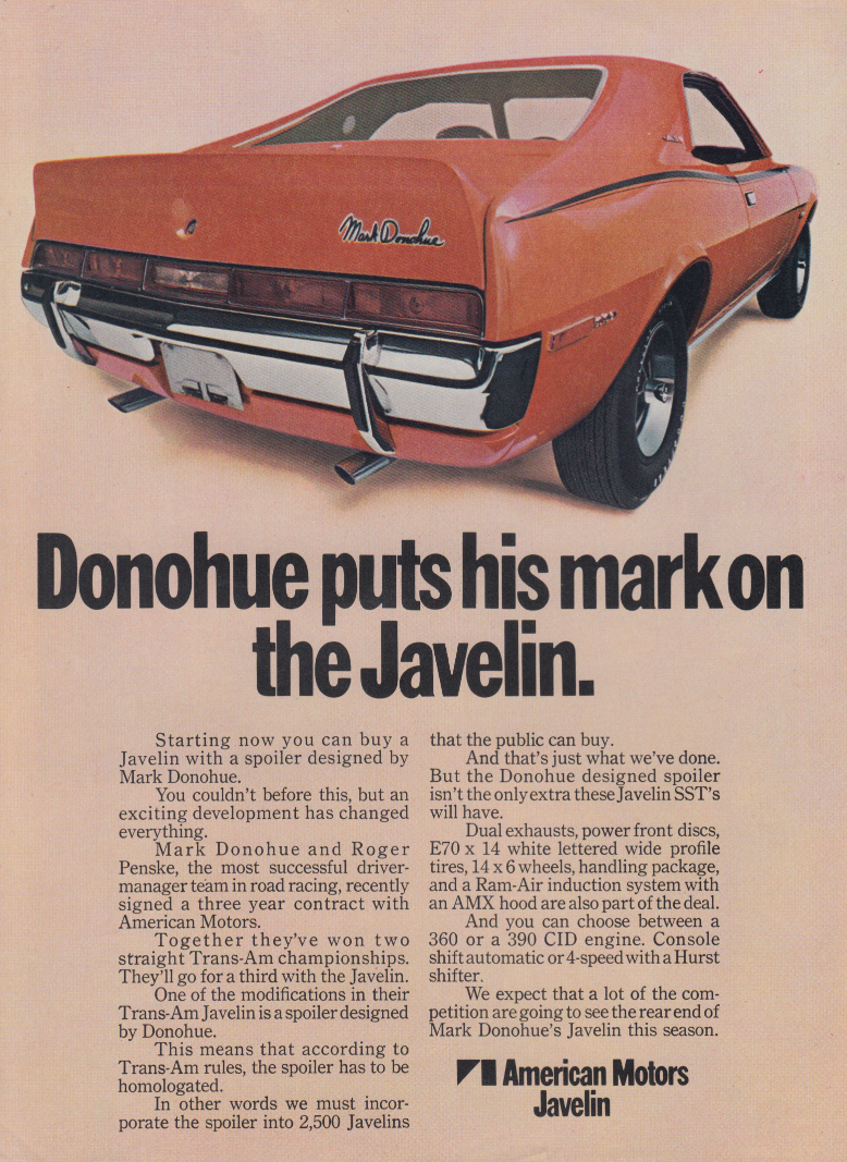 Image for Mark Donohue puts his mark on the AMC Javelin ad 1970