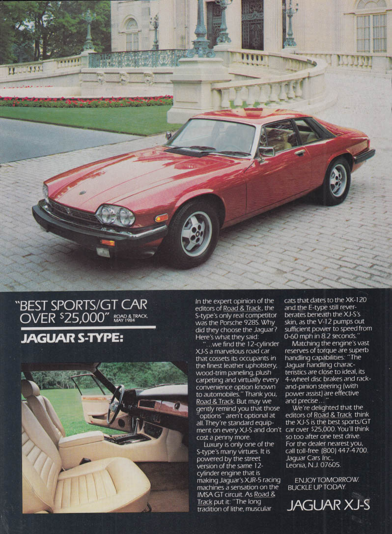 Image for Best Sports / GT Car over $25,000 Jaguar XJ-S ad 1984 NY