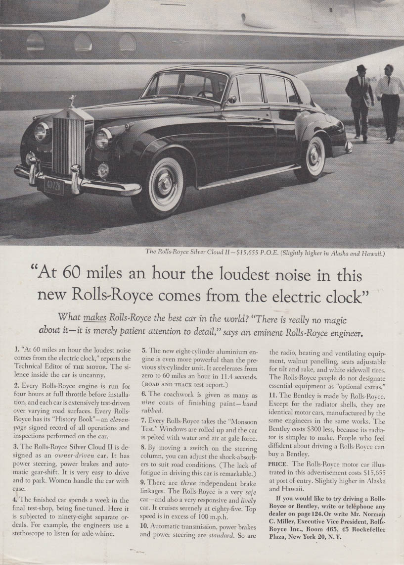 Image for At 60 miles an hour the loudest noise comes from the clock Roll-Royce ad 1961 NY