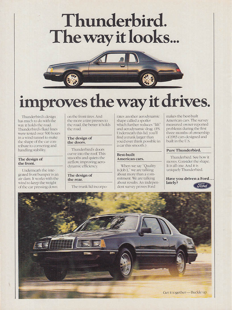 Image for The way it looks improves the way it drives Ford Thunderbird ad 1983 NY