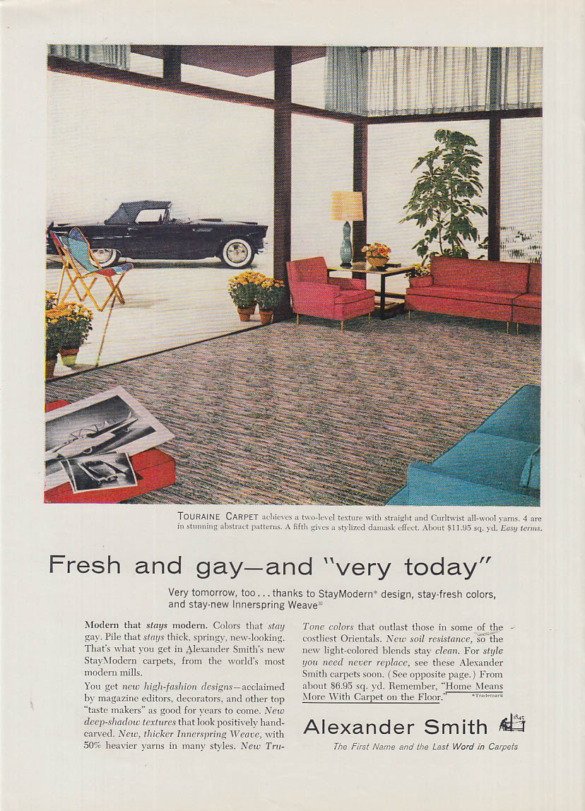 Image for Fresh & gay - the very today Alexander Smith Carpet ad 1956 Ford Thunderbird
