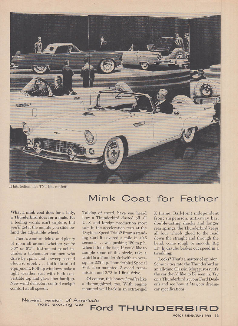 Image for Mink coat for Father - Ford Thunderbird ad 1956 MT