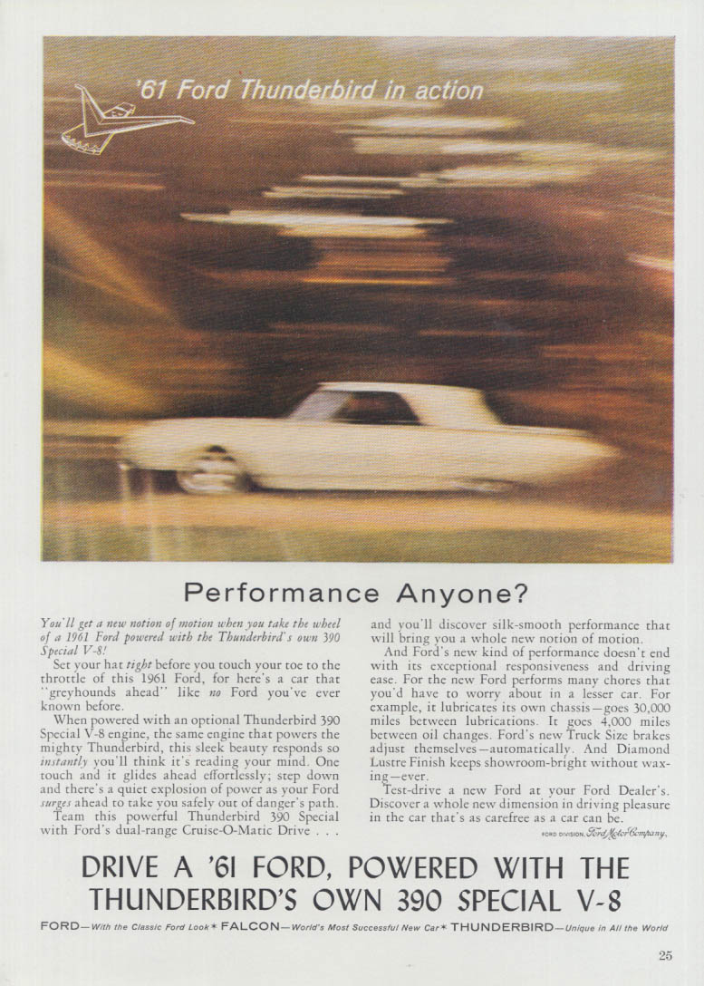 Image for Performance Anyone? Ford Thunderbird in Action ad 1961