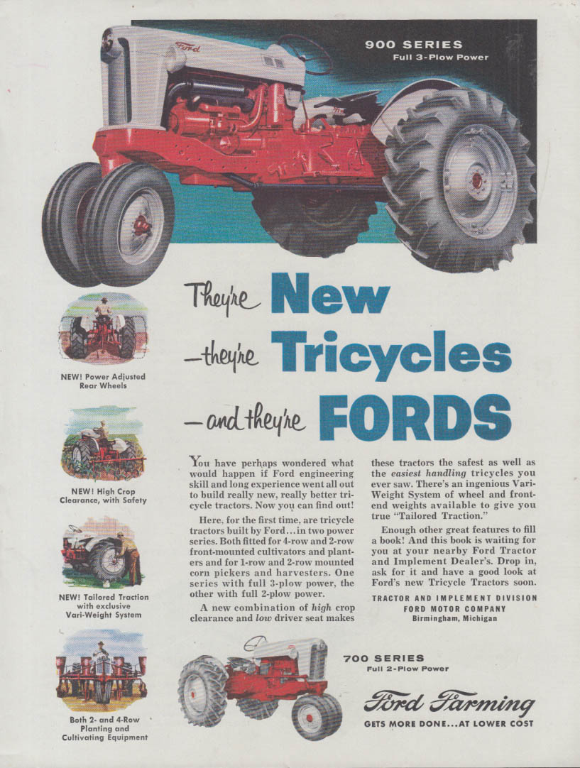 Image for The New Ford 900 Series Tricycle Tractor ad 1955 BF