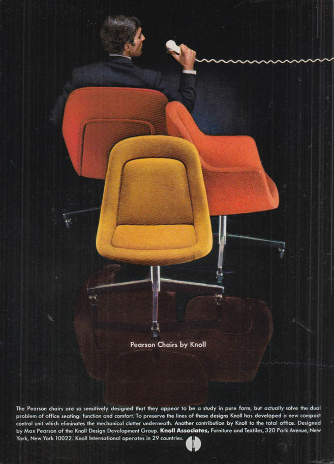 Image for Sensitively designed Pearson Chairs for Knoll Associates ad 1968 NY