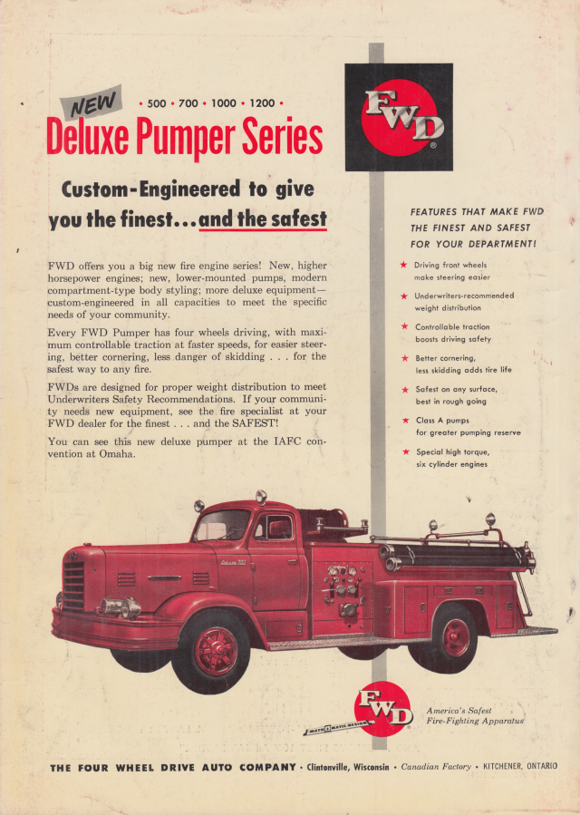 Image for Custom-Engineered to give you the finest FWD Deluxe Pumper Series ad 1955 FE