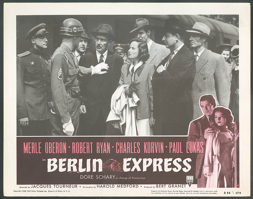 Image for Paul Lukas Merle Oberon Berlin Express lobby card 1955