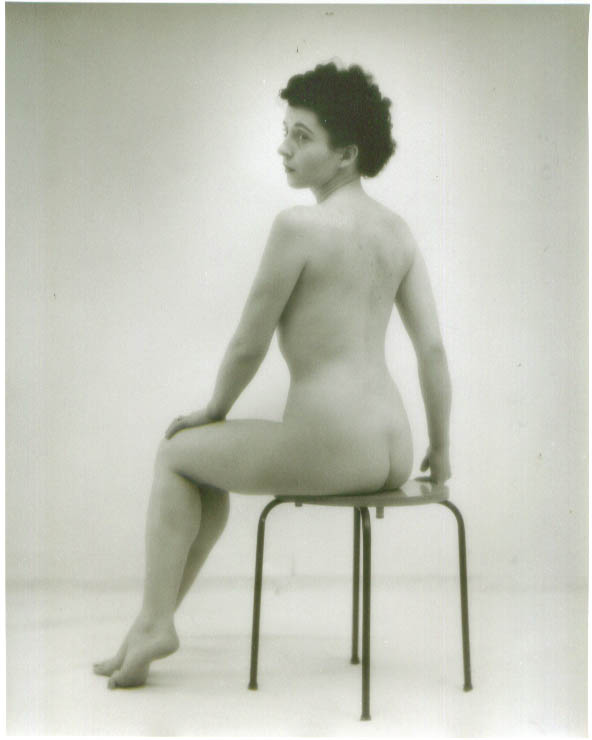 Image for Dark-haired nude seated rear view vintage 8x10 1950s