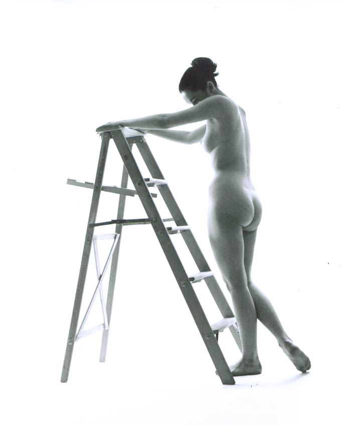 Image for Nude with bun grasps stepladder vintage 8x10 1950s