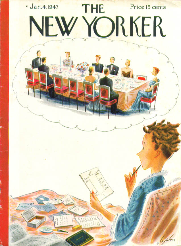 Image for New Yorker cover Alajalov dinner party seating conundrum for hostess 1/4 1947