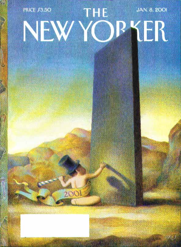 Image for New Yorker cover New Year's baby confronts megalith 1/8 2001