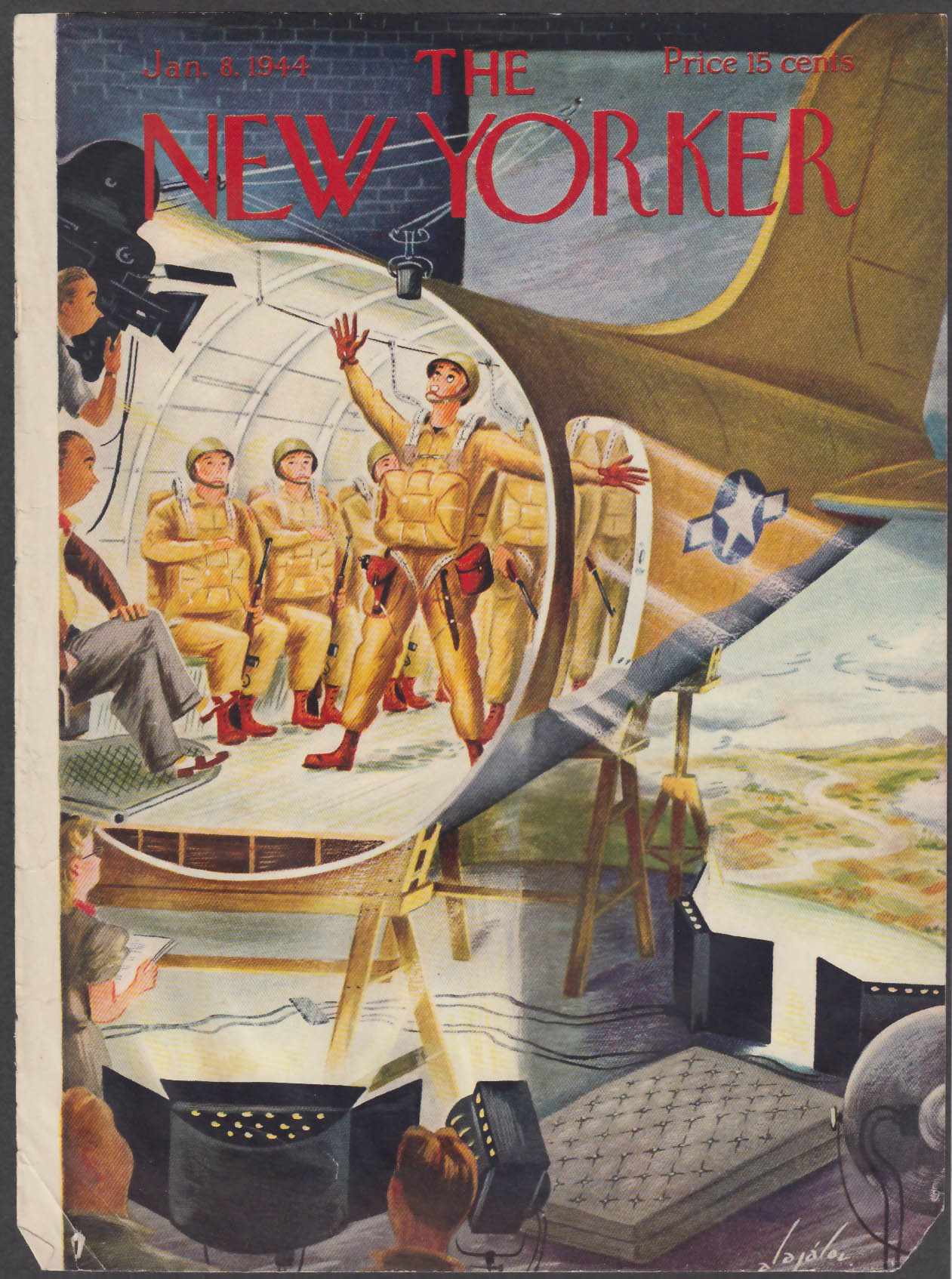Image for New Yorker cover Alajalov paratroopers acting for the movies 1/8 1944