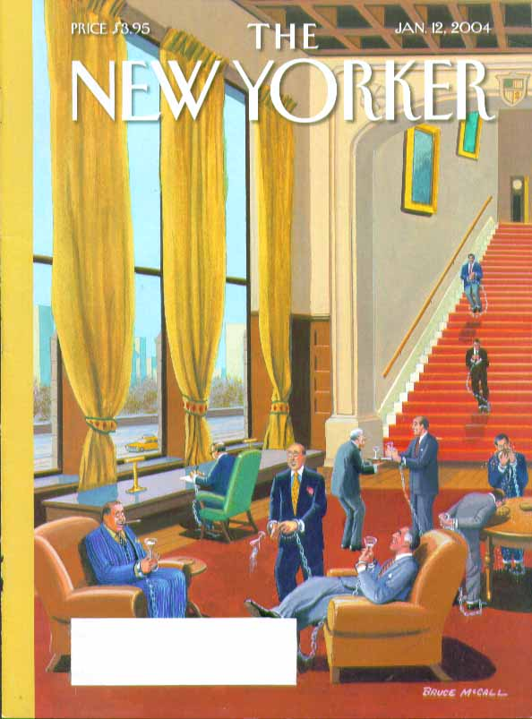 Image for New Yorker cover Bruce McCall men's club members chained & cuffed 1/12 2004