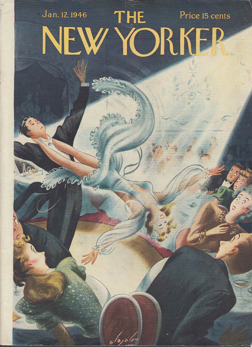 Image for New Yorker cover Alajalov trick dancers scare crowd at nightclub 1/12 1946