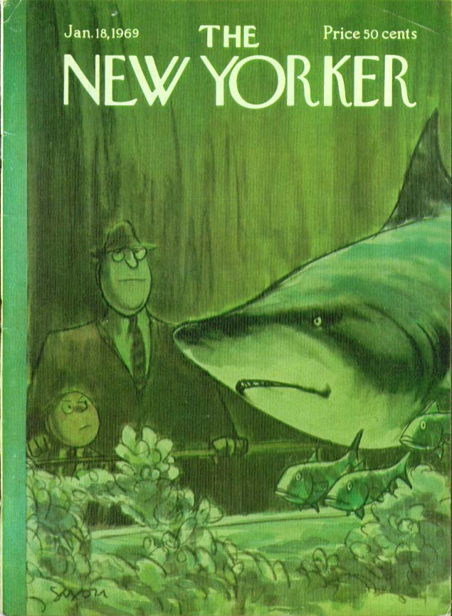 Image for New Yorker cover Saxon tycoon aquarium shark 1/18 1969