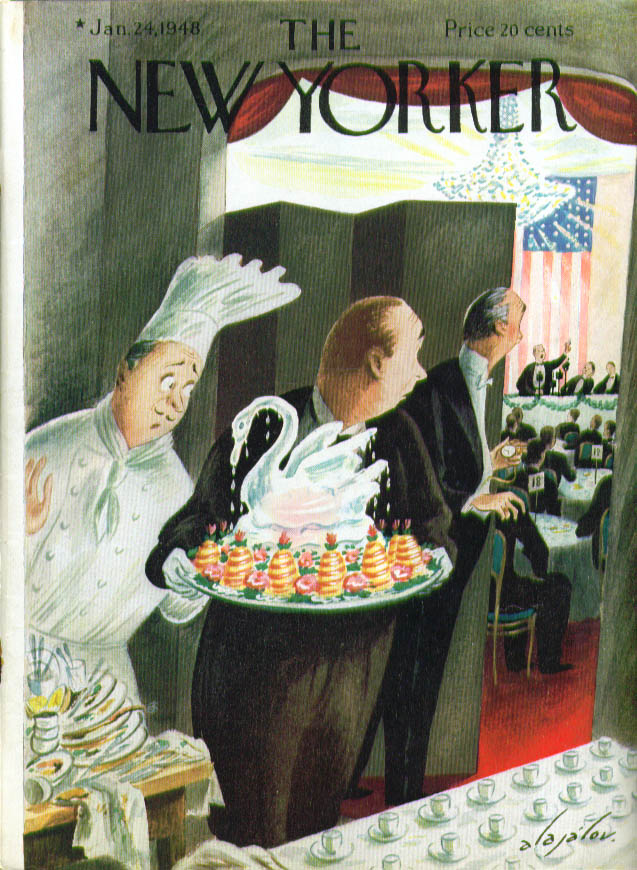 Image for New Yorker cover Alajalov melting ice sculpture awaits long speech end 1/24 1948