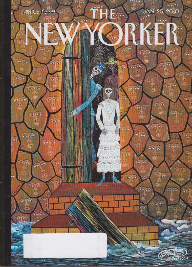 Image for New Yorker cover Frantz Zephrin skeleton elevator man opens door 1/25 2010