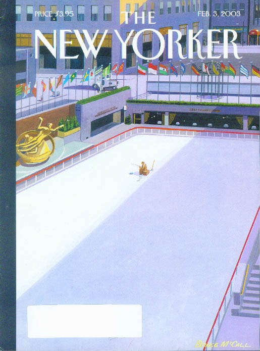 Image for New Yorker cover Bruce McCall ice fishing in Rockefeller Center rink 2/3 2003