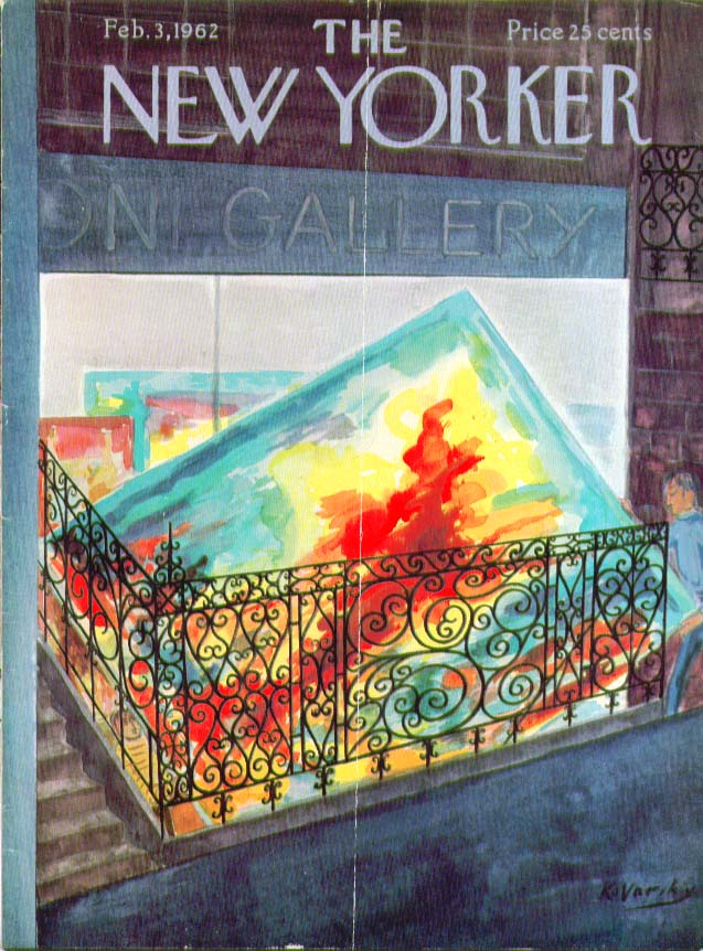 Image for New Yorker cover Kovarsky basement art gallery 2/3 1962