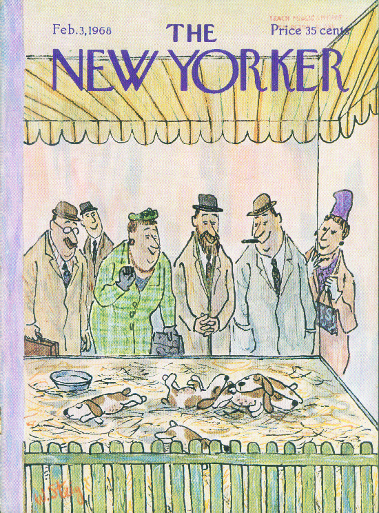 Image for New Yorker cover Steig people puppies petshop 2/3 1968