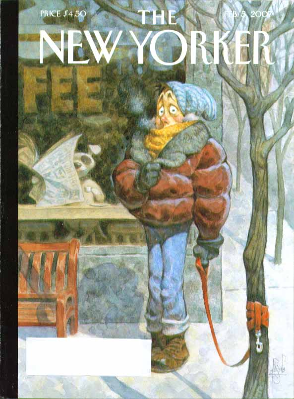 Image for New Yorker cover Peter de Seve man waits for dog outside coffee shop 2/5 2007