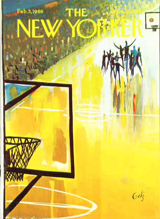 Image for New Yorker cover Getz basketball game 2/5 1966