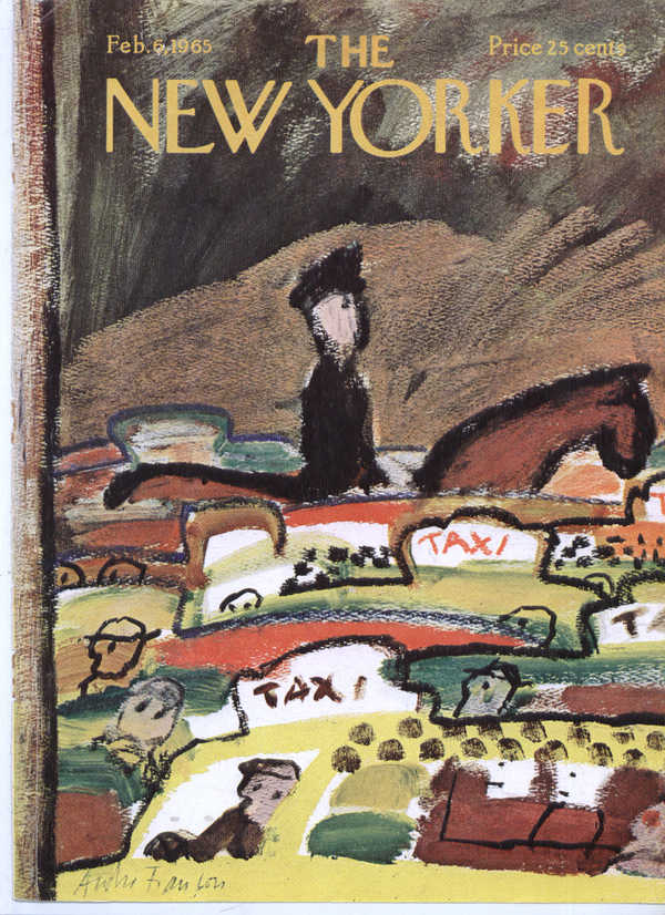 Image for New Yorker cover Franois horseback cop taxis 2/6 1965