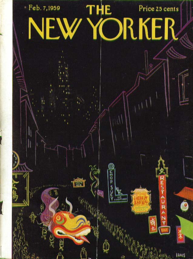 Image for New Yorker cover Kraus night Chinatown parade 2/7 1959