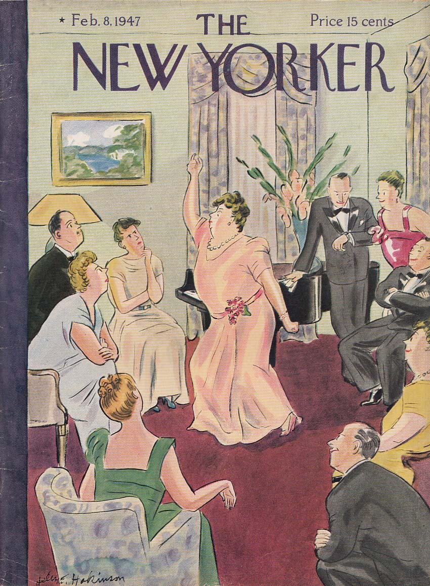 Image for New Yorker cover Hokinson matron declaiming 2/8 1947