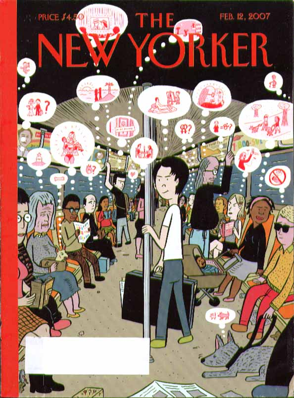Image for New Yorker cover David Heatley mind balloons over subway riders 2/12 2007