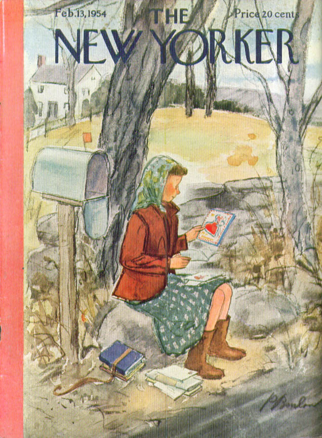 Image for New Yorker cover Barlow rural girl Valentine 2/13 1954