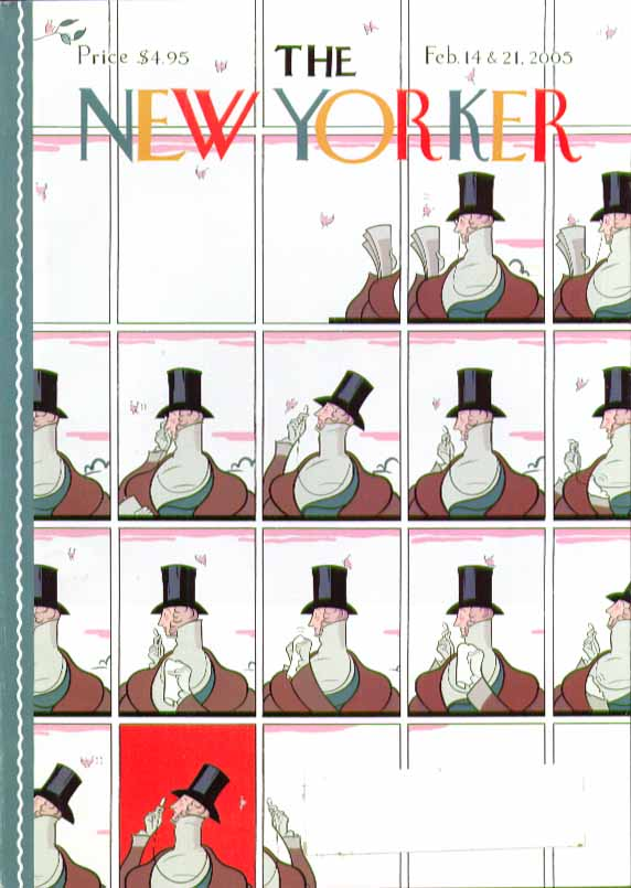 Image for New Yorker cover Rea Irvin motif Eustace Tilley variants 2/14 & 2/21 2005