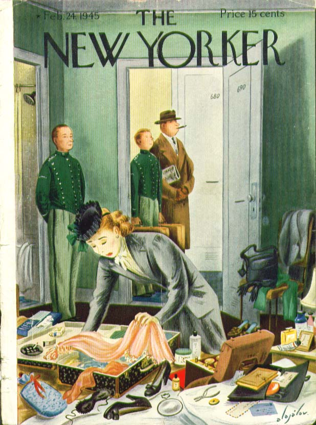 Image for New Yorker cover Alajalov wife packing slowly in hotel room 2/24 1945