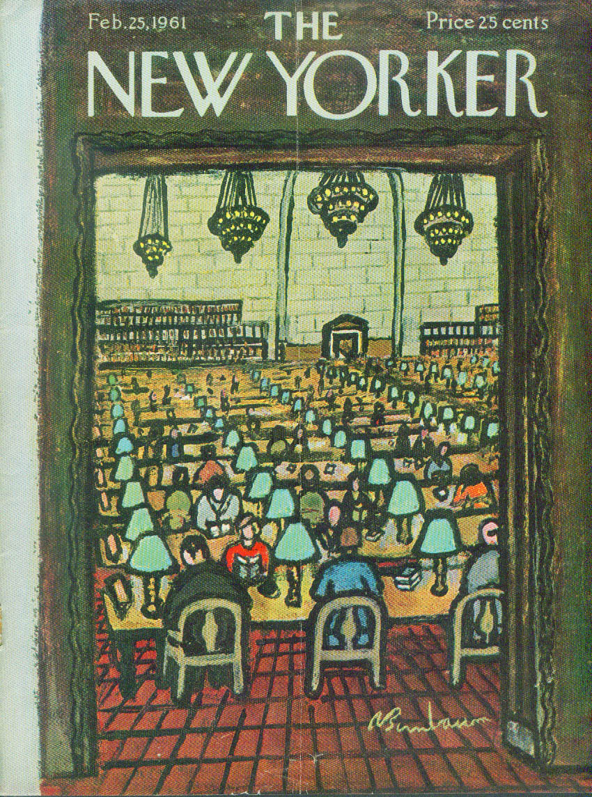 Image for New Yorker cover Birnbaum library room 2/25 1961