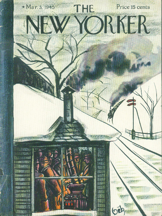 Image for New Yorker cover Getz warm stove train depot 3/3 1945