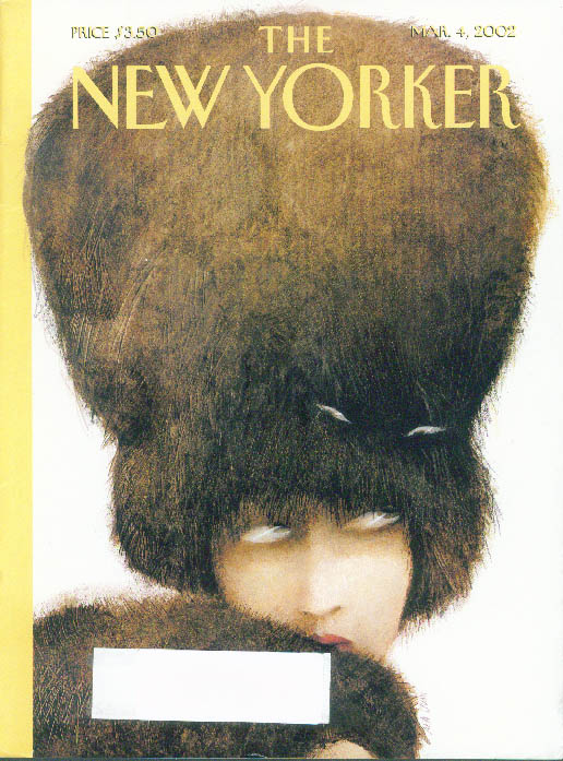 Image for New Yorker cover Ana Juan cat hiding in woman's huge fur hat 3/4 2002